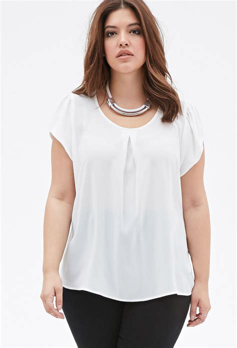 sheer white blouse forever 21 plus size sheer pleated front blouse in white