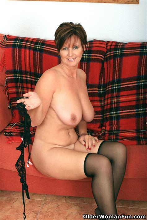 Gorgeous Granny Joy In Black Stockings Nude Big Tits
