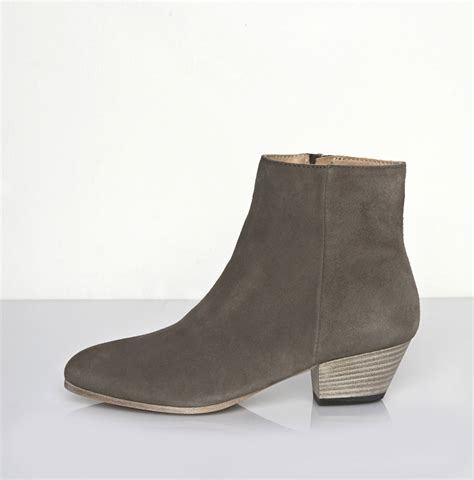 zip side ankle boots common projects suede zip ankle boot in gray lyst