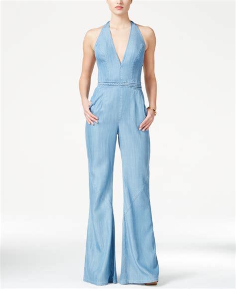 halter jumpsuits guess wide leg denim halter jumpsuit in blue lyst