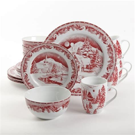 dinnerware winter christmas corelle gibson holly sets holiday rated livingware log homes cottage decorating casual everything amazon