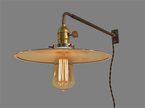 vintage industrial style wall sconce with flat steel shade