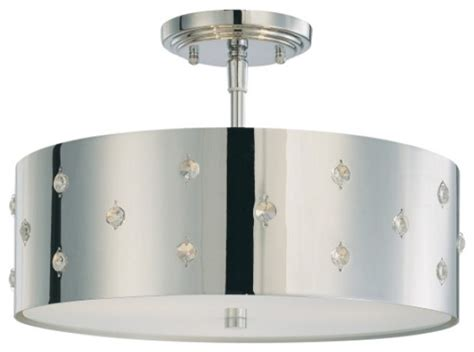 bling bling 3 light semi flush mount contemporary