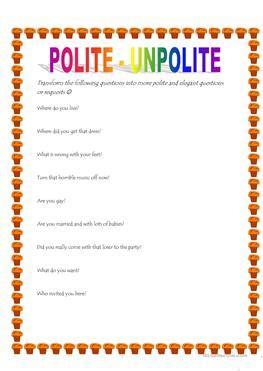 30 free esl polite worksheets