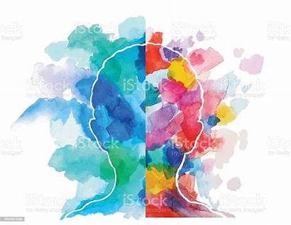 Thinking Creative Head Watercolor Logical Vector Illustration