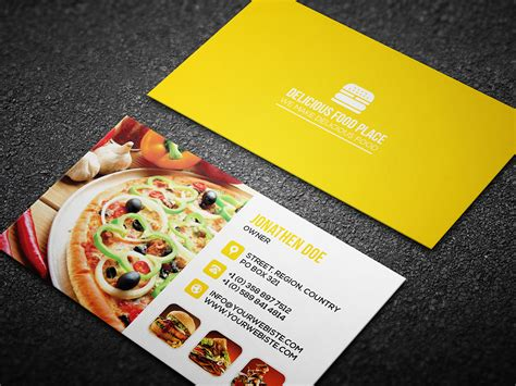 Free Delicious Food Business Card On Behance Name Format On Business Card Nfc Iphone Template Nz Vertical Holder Office Depot Credit Sign In Event Organizer No Cards At Networking Create