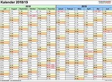 Halbjahreskalender 20182019 als ExcelVorlagen zum Ausdrucken