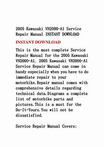 2005 Kawasaki Vn2000 A1 Service Repair Manual Instant Download