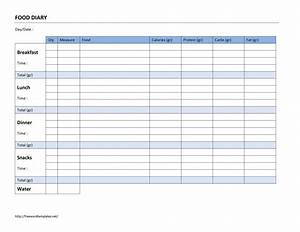 Food diary log for Food diaries templates