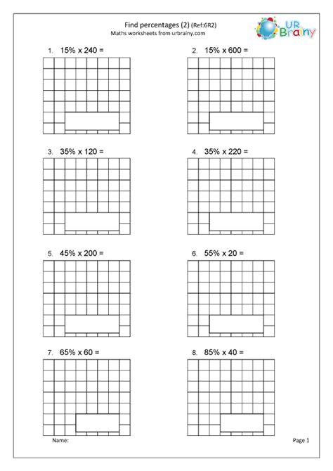 find percentages   fraction  decimal worksheets