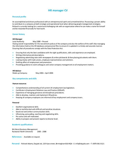 hr manager cvtemplate