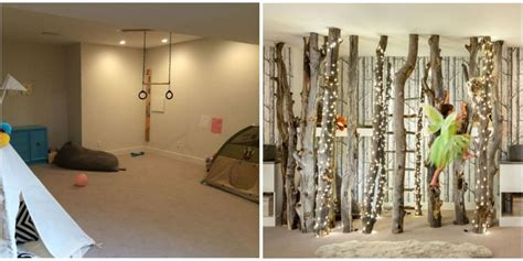beautiful indoor forest playroom transformation