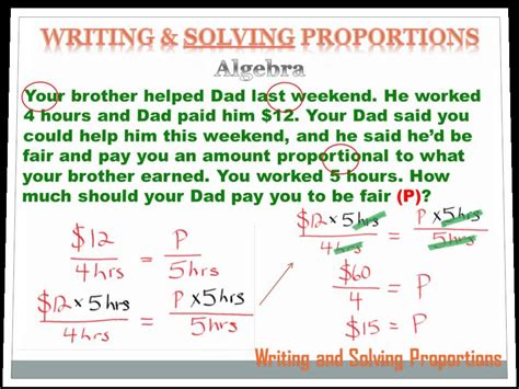 number sense writing  solving proportions  grade