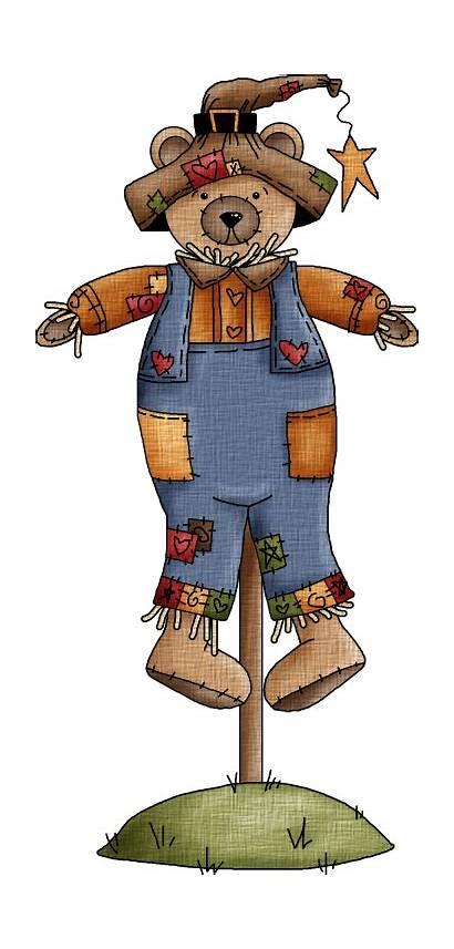 Clip Fall Scarecrow Bear Teddy Clipart Scarecrows