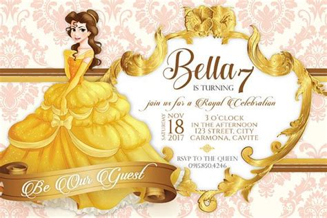 belle  beauty   beast birthday invitation template