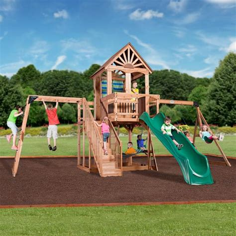 Backyard Discovery Cedar View Swing Set by Oceanview Wooden Swing Set Playsets Backyard Discovery