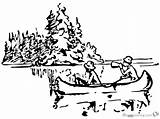 Coloring Canoeing Pages Near Island Printable sketch template