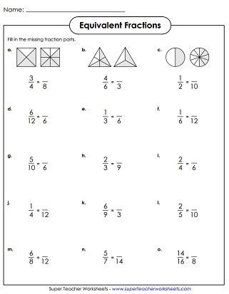 Worksheets With Equivalent Fractions Homeshealthinfo