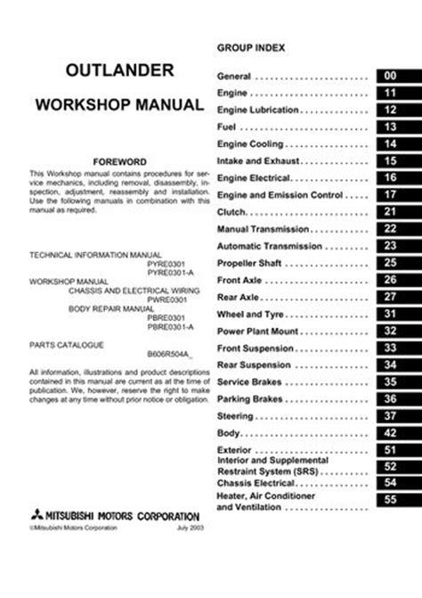 mitsubishi outlander workshop manual   pages