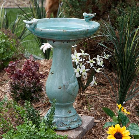 alpine antique light turquoise ceramic bird bath with 2