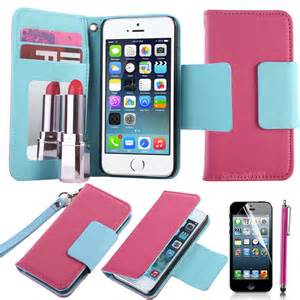 best iphone 5s wallet luxury flip leather mirror slim wallet card magnetic