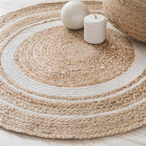 tapis rond en coton blanc  jute dcm leigh maisons