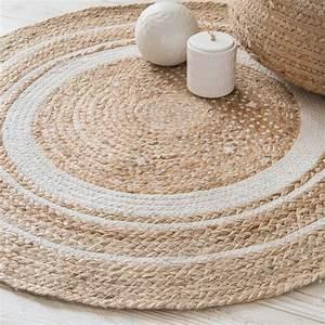 Runder Teppich 100 Cm : runder teppich aus wei er baumwolle und jute d 90 cm ~ Lateststills.com Haus und Dekorationen