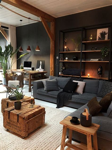 industrial living room   wall mounted shelving unit