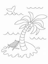 Coloring Summer Pages Tree Island Palm Printables Templates Template Activities Mrprintables Mr Under sketch template