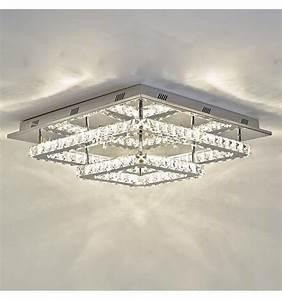 Plafonnier Design Led : plafonnier led design double carr s cristal wade ~ Melissatoandfro.com Idées de Décoration