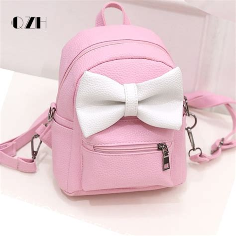 QZH 2017 Leather Girl Cute Backpack Small School Mini Bow ...