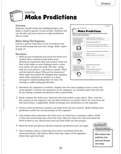 reading response bookmarks graphic organizers