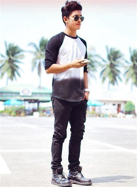 Men Fashion Black White Wash Baseball Jeans