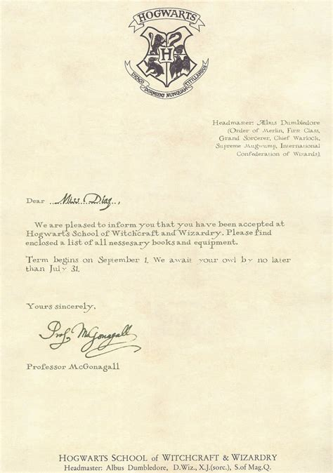 printable hogwarts acceptance letter template vastuuonminun