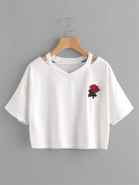 crop tops for cut out neck embroidered patch teefor romwe