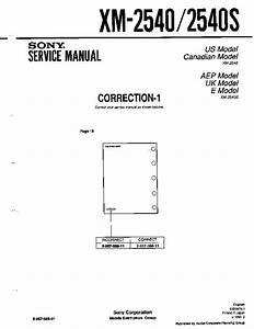 Sony Xm-2540  Xm-2540s  Xm-4520 Service Manual