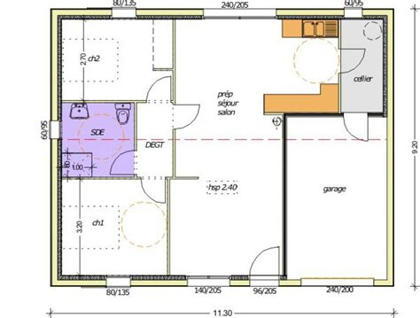 plan maison 70m2 3 chambres