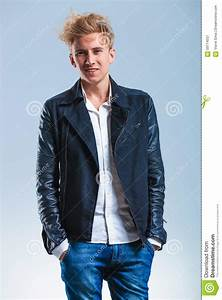 Guy With Leather Jacket White Shirt And Hands In Pockets While Stock Photo - Image 59714537