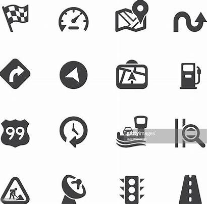 Highway Silhouette Icons Vector Navigation Map Route