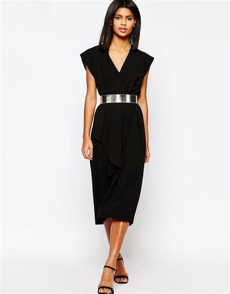 asymmetric contemporary midi dress  belt ootd
