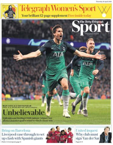 Today's back pages: Oh my quad! Spurs shatter Man City's ...