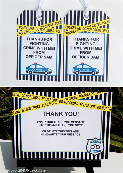 police themed party printables invitations birthday party