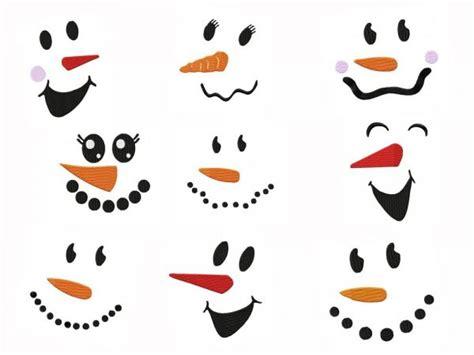 snowman faces embroidery designs set   sizes