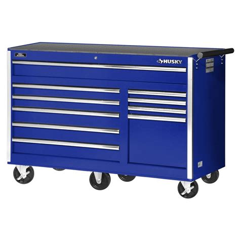 husky 56 in 10 drawer cabinet tool chest blue vrb