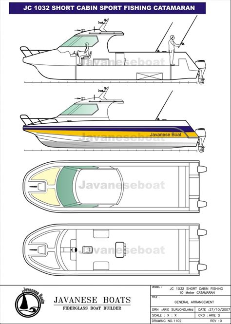 Catamaran Technical Drawing by Kapal Fiber Buatan Indonesia Sport Fishing Cat 10 Meter