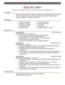 security resumes exles security guard resume exles enforcement security resume sles livecareer