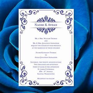wedding invitation template julia royal blue With free printable wedding invitations royal blue
