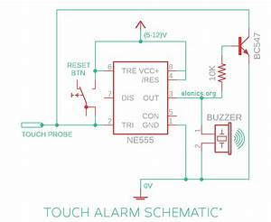 Latching Touch Sensitive Alarm Circuit Using 555 Timer Ic