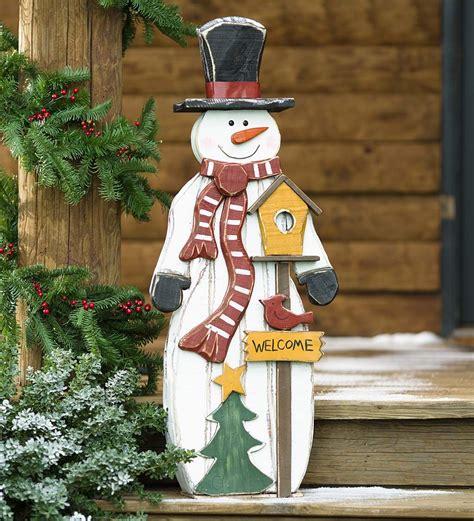 rustic wooden snowman  accent decorative garden