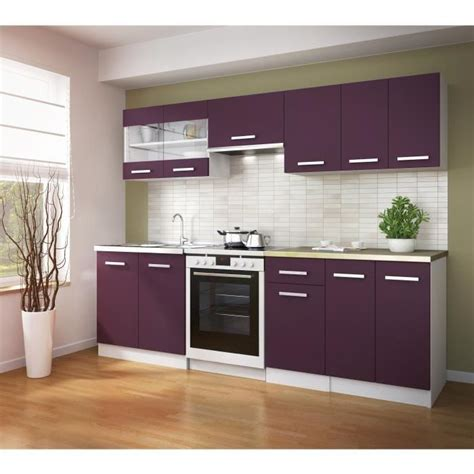 cuisine equipee pas cher ultra cuisine compl 232 te 240 cm aubergine achat vente cuisine compl 232 te cuisine complete ultra